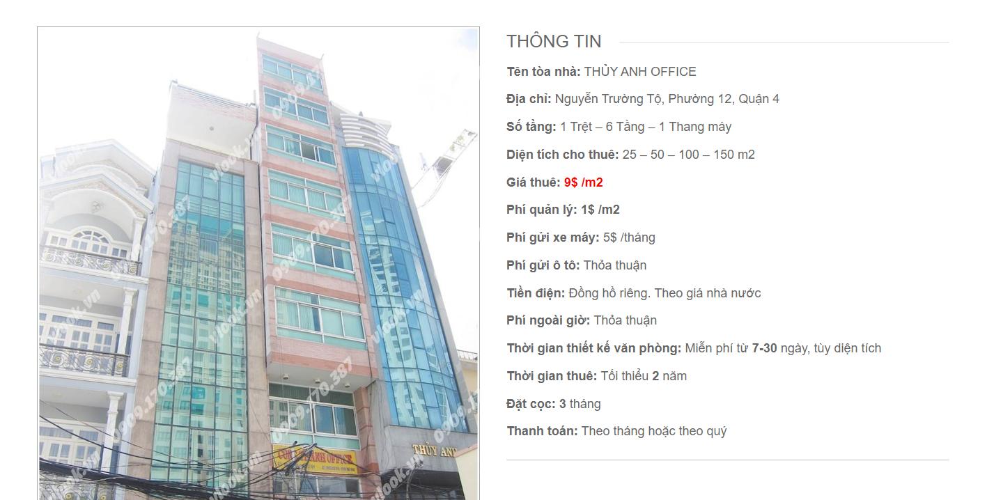 Danh sách công ty tại tòa nhà Thủy Anh Office, Nguyễn Trường Tộ, Quận 4