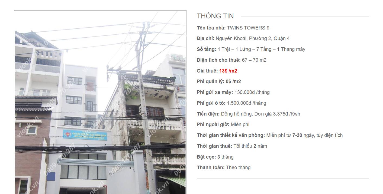 Danh sách công ty tại tòa nhà Twins Towers 9, Nguyễn Khoái, Quận 4