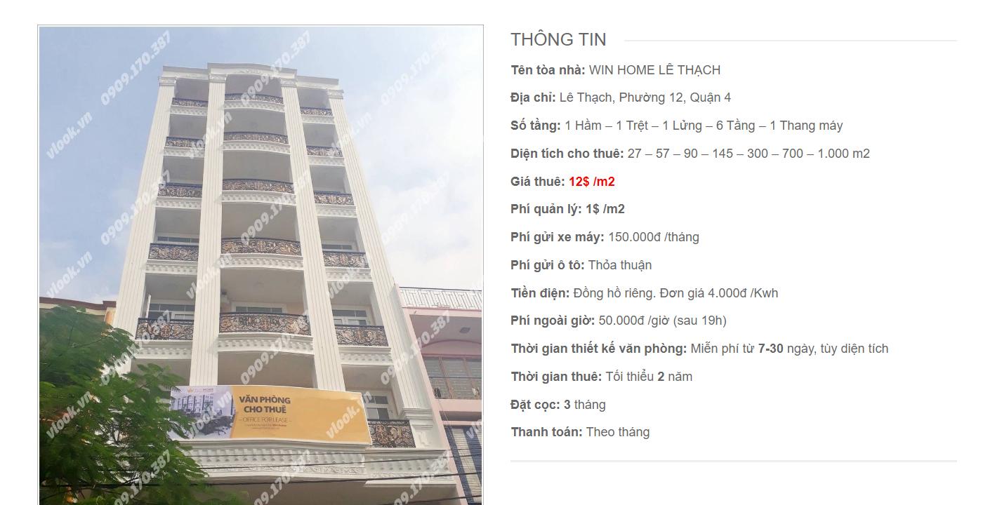 Danh sách công ty tại tòa nhà Win Home Lê Thạch, Quận 4