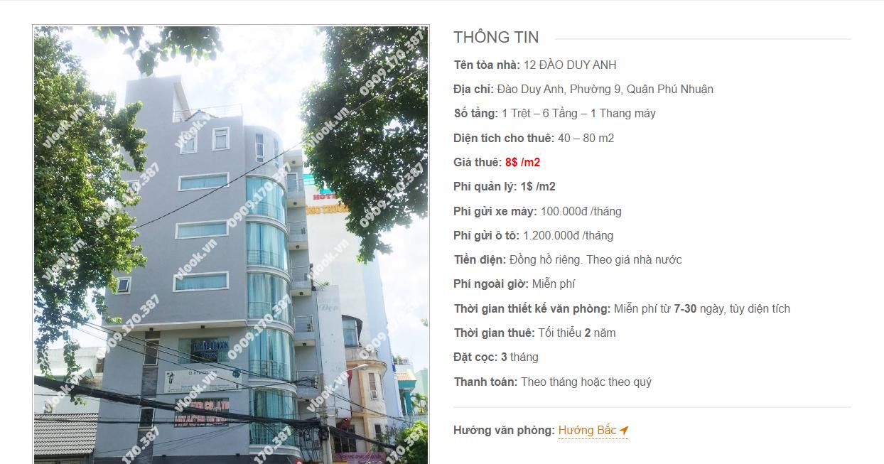 Danh sách công ty tại tòa nhà 12 Đào Duy Anh, Quận Phú Nhuận