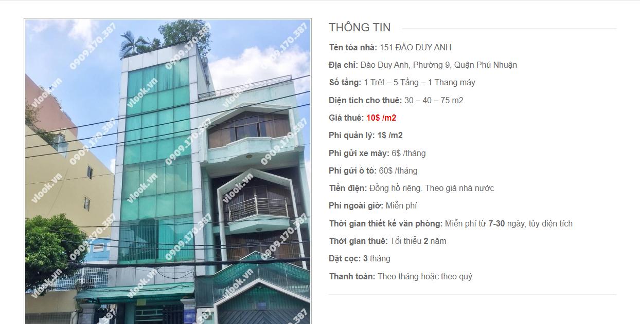 Danh sách công ty tại tòa nhà 151 Đào Duy Anh, Quận Phú Nhuận