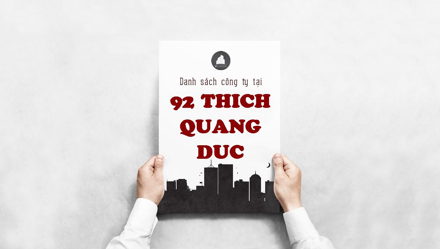 Danh sách công ty tại tòa nhà 92 Thích Quảng Đức, Quận Bình Thạnh