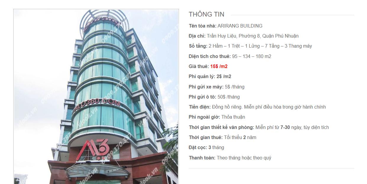 Danh sách công ty tại tòa nhà Arirang Building, Trần Huy Liệu, Quận Phú Nhuận