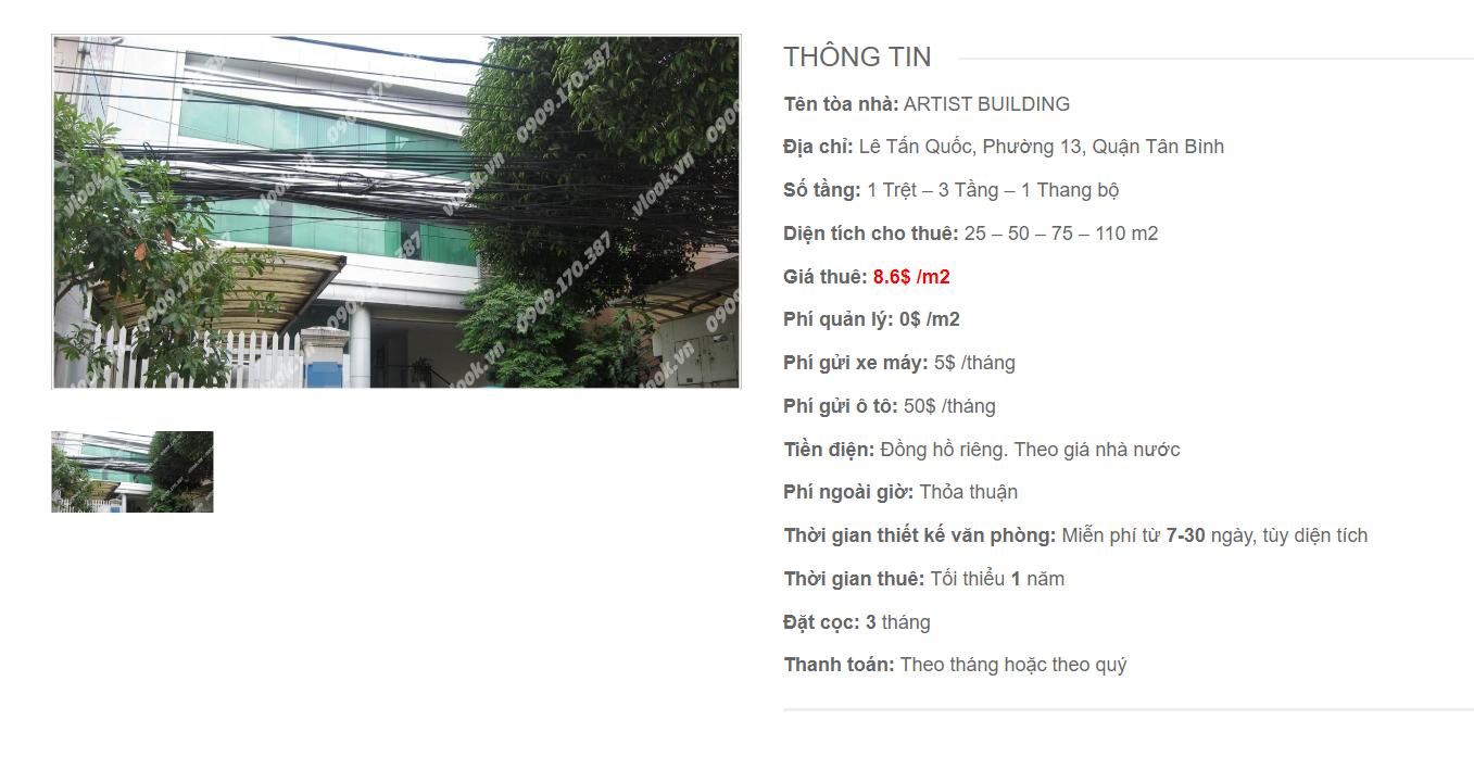 Danh sách công ty tại tòa nhà Artist Building, Lê Tấn Quốc, Quận Tân Bình