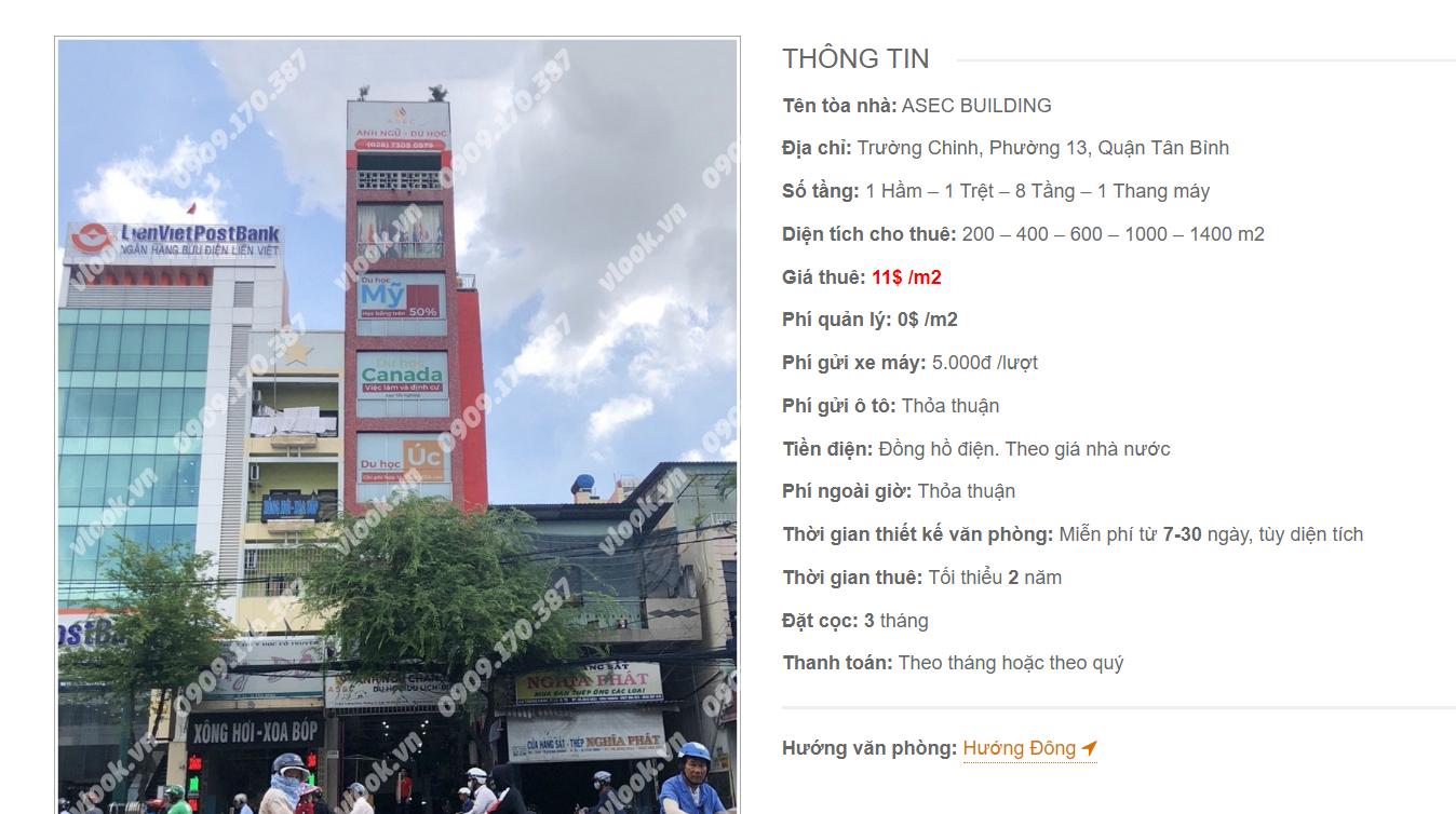 Danh sách công ty tại tòa nhà Asec Building, Trường Chinh, Quận Tân Bình