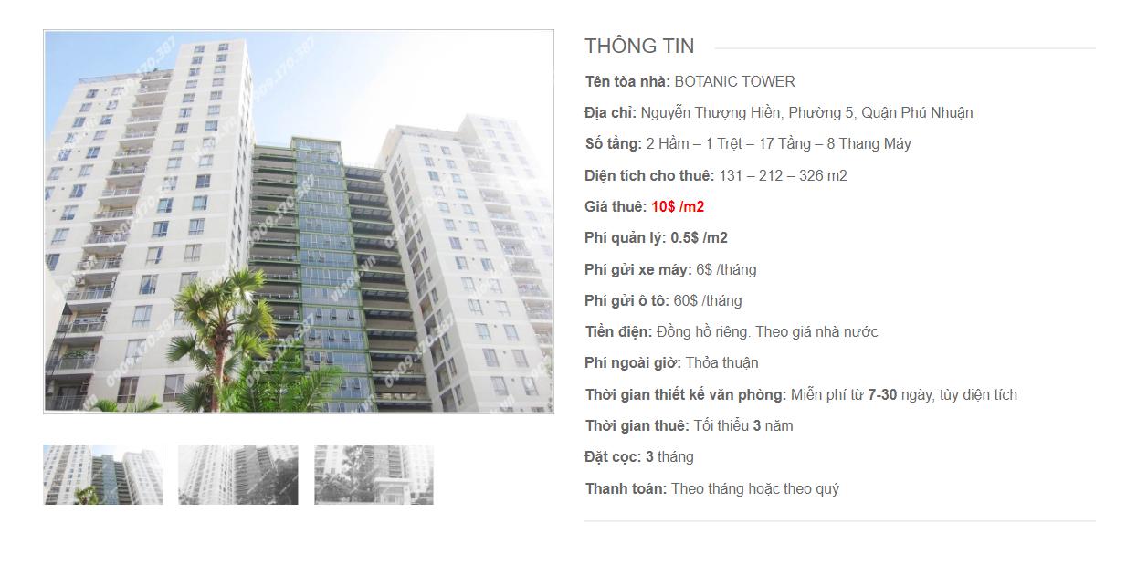 Danh sách công ty tại tòa nhà Botanic Tower, Nguyễn Thượng Hiên Quận Phú Nhuận