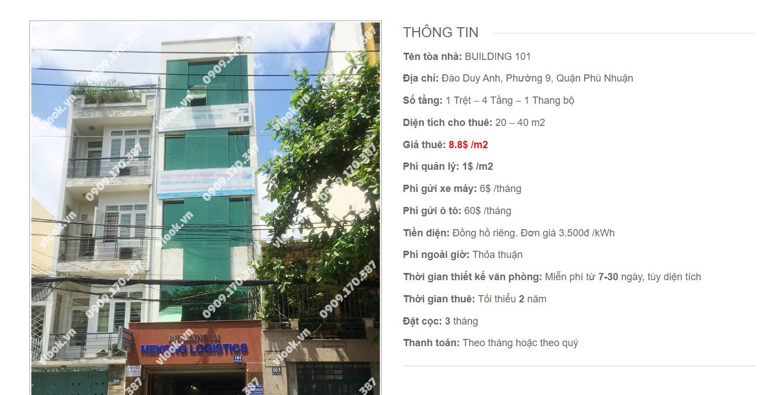 Danh sách công ty tại tòa nhà Building 101, Đào Duy Anh, Quận Phú Nhuận