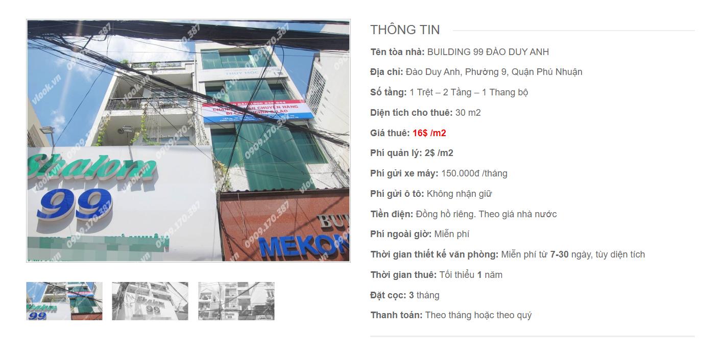 Danh sách công ty tại tòa nhà Building 99, Đào Duy Anh, Quận Phú Nhuận