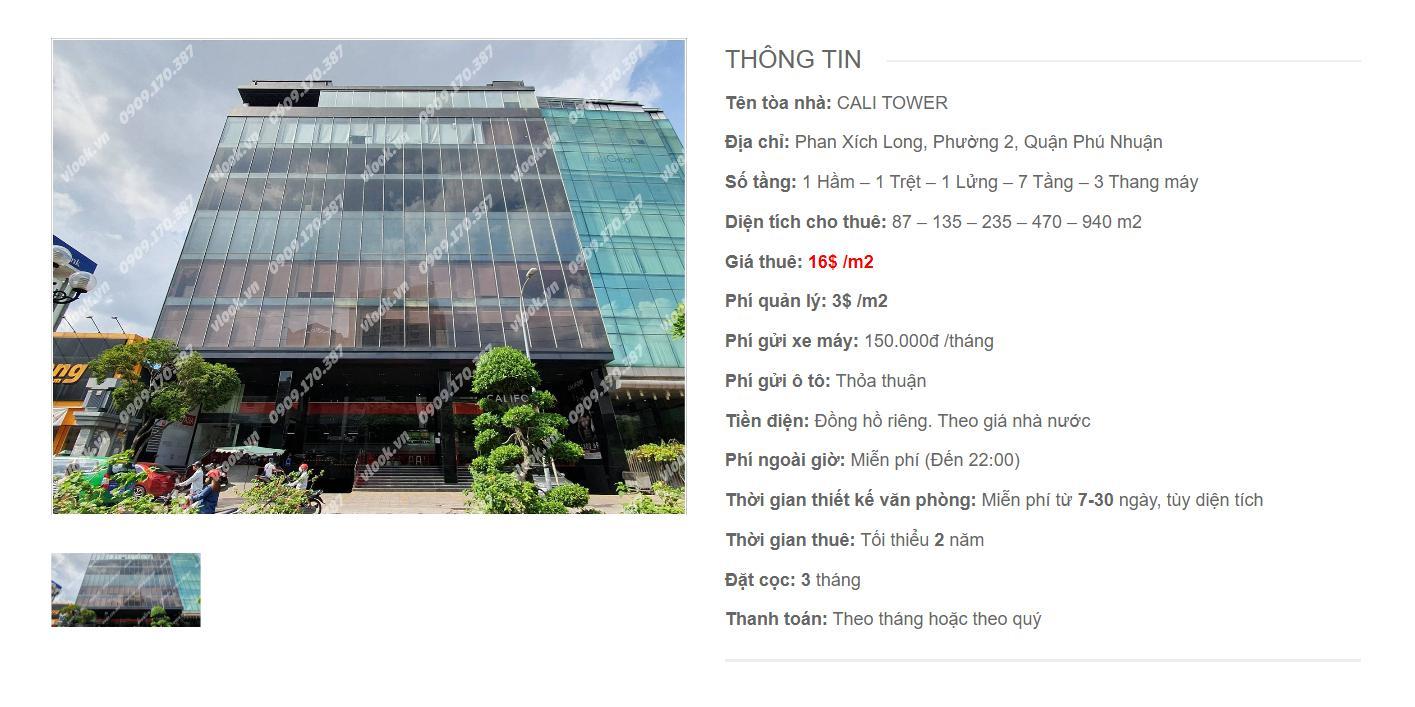 Danh sách công ty tại tòa nhà Cali Tower, Phan Xích Long, Quận Phú Nhuận
