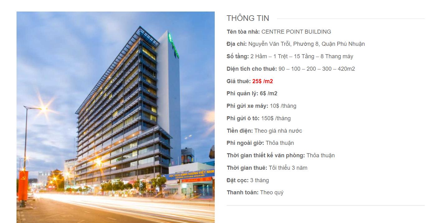 Danh sách công ty tại tòa nhà Centre Point, Nguyễn Văn Trỗi, Quận Phú Nhuận