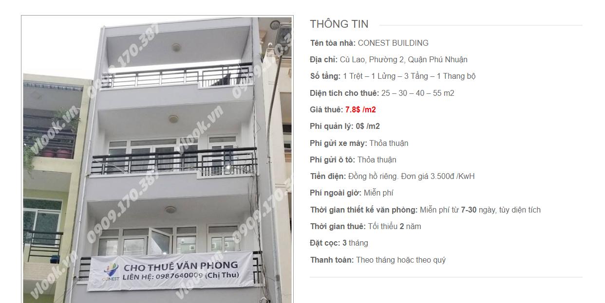 Danh sách công ty tại tòa nhà Conest Building, Cù Lao, Quận Phú Nhuận