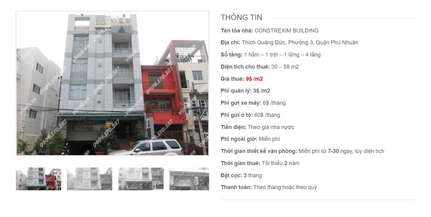 Danh sách công ty tại tòa nhà Constrexim Building, Thích Quảng Đức, Quận Phú Nhuận