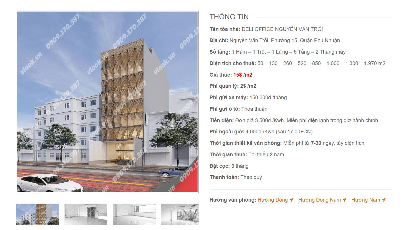 Danh sách công ty tại tòa nhà Deli Office Nguyễn Văn Trỗi , Quận Phú Nhuận