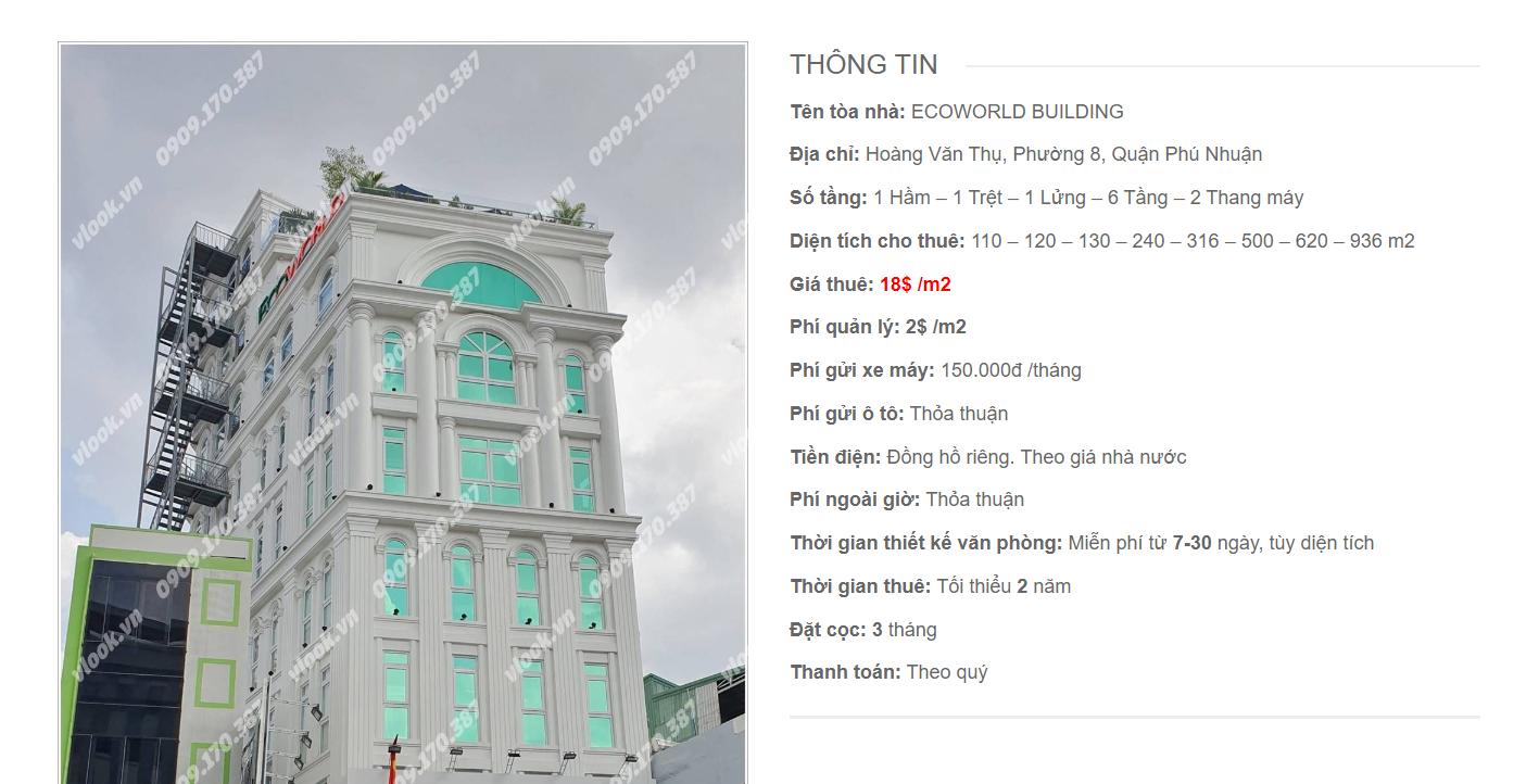 Danh sách công ty tại tòa nhà Ecoworld Buiding, Hoàng Văn Thụ, Quận Phú Nhuận