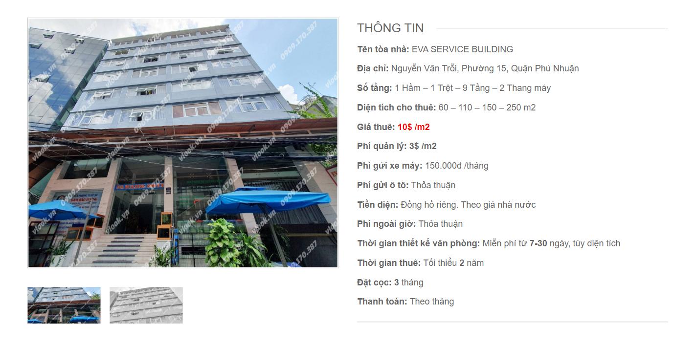 Danh sách công ty tại tòa nhà Eva Service Building Nguyễn Văn Trỗi, Quận Phú Nhuận