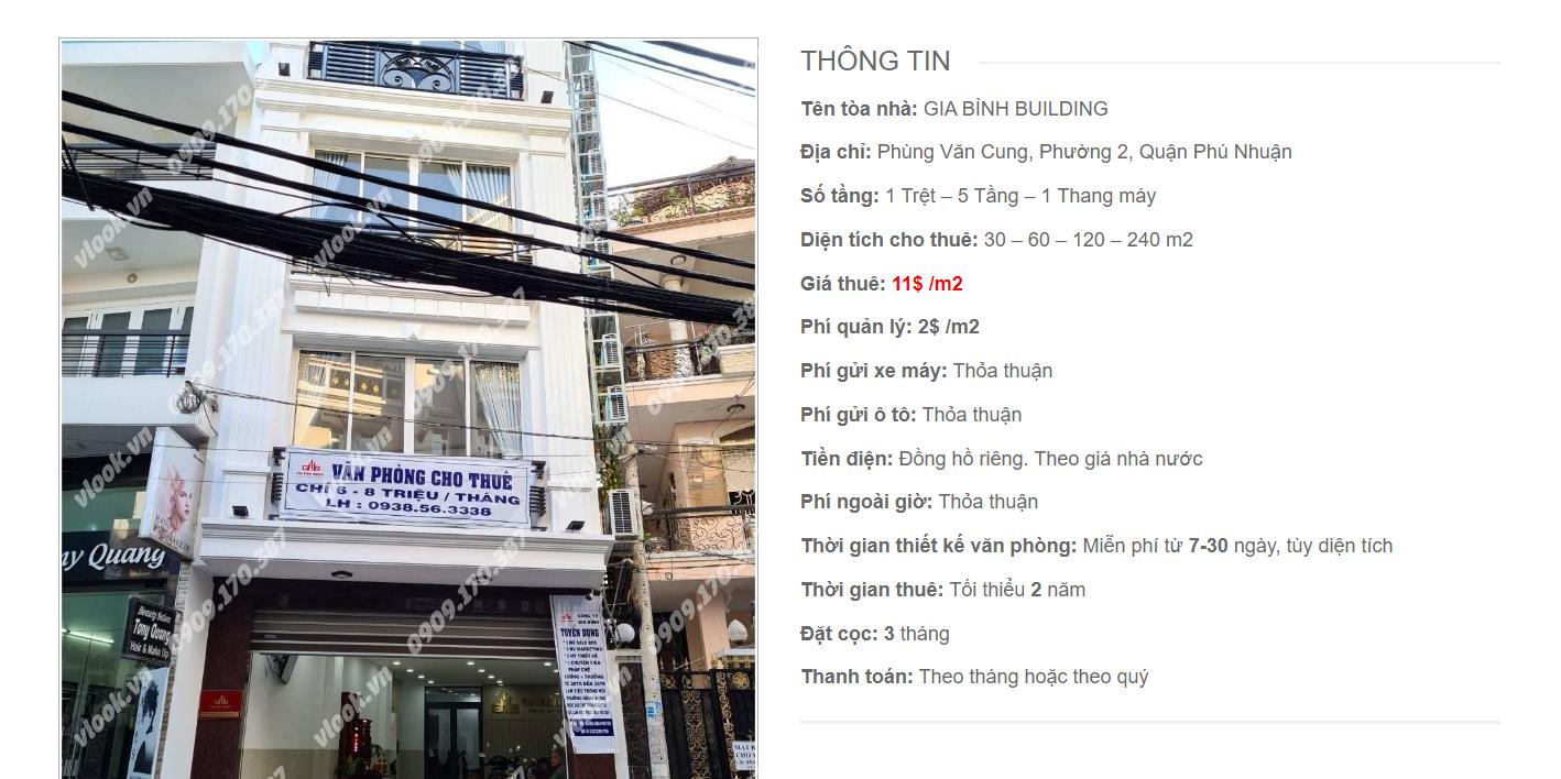 Danh sách công ty tại tòa nhà Gia Bình Building, Phùng Văn Cung, Quận Phú Nhuận