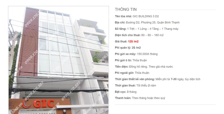 Danh sách công ty tại tòa nhà GIC Building 3 Đường D2, Quận Bình Thạnh