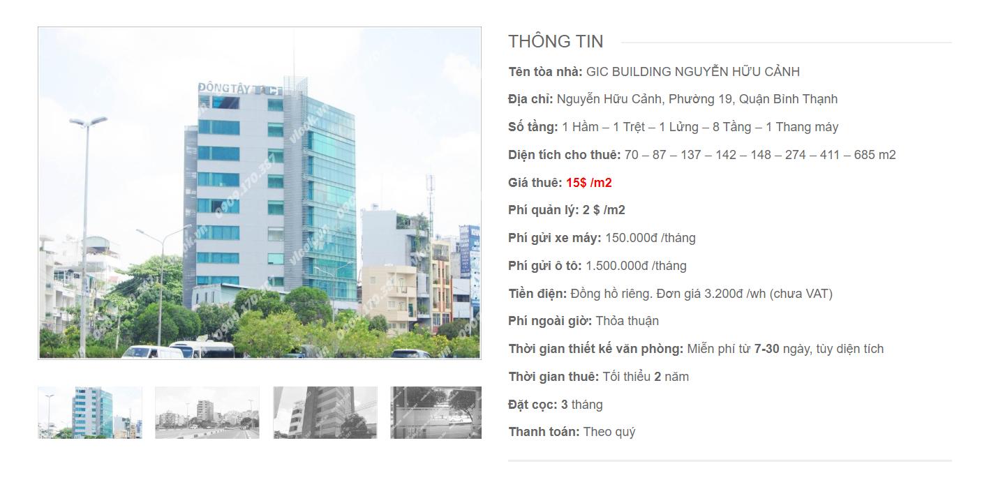Danh sách công ty tại tòa nhà GIC Building Nguyễn Hữu Cảnh, Quận Bình Thạnh