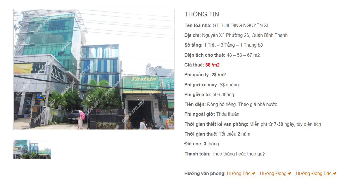 Danh sách công ty tại tòa nhà GT Building, Nguyễn Xí, Quận Bình Thạnh