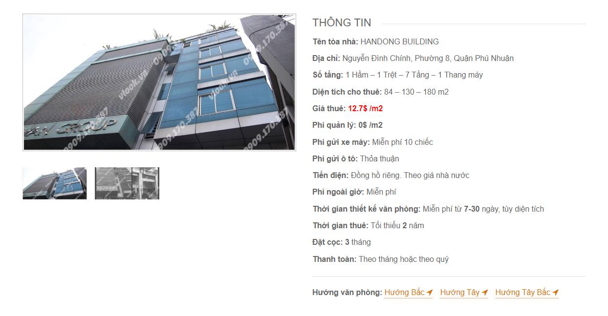 Danh sách công ty tại tòa nhà Handong Building, Nguyễn Đình Chính, Quận Phú Nhuận