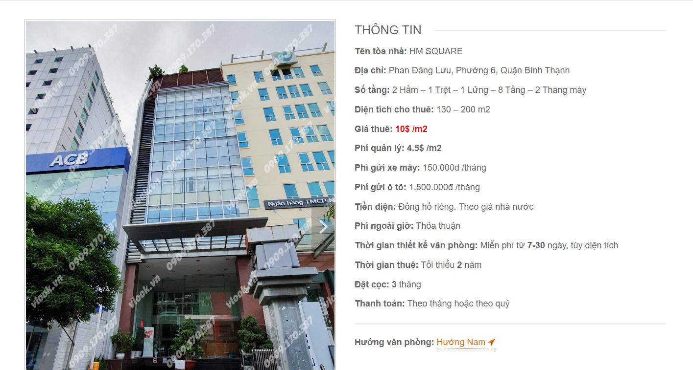 Danh sách công ty tại tòa nhà HM Square Building, Phan Đăng Lưu, Quận Bình Thạnh