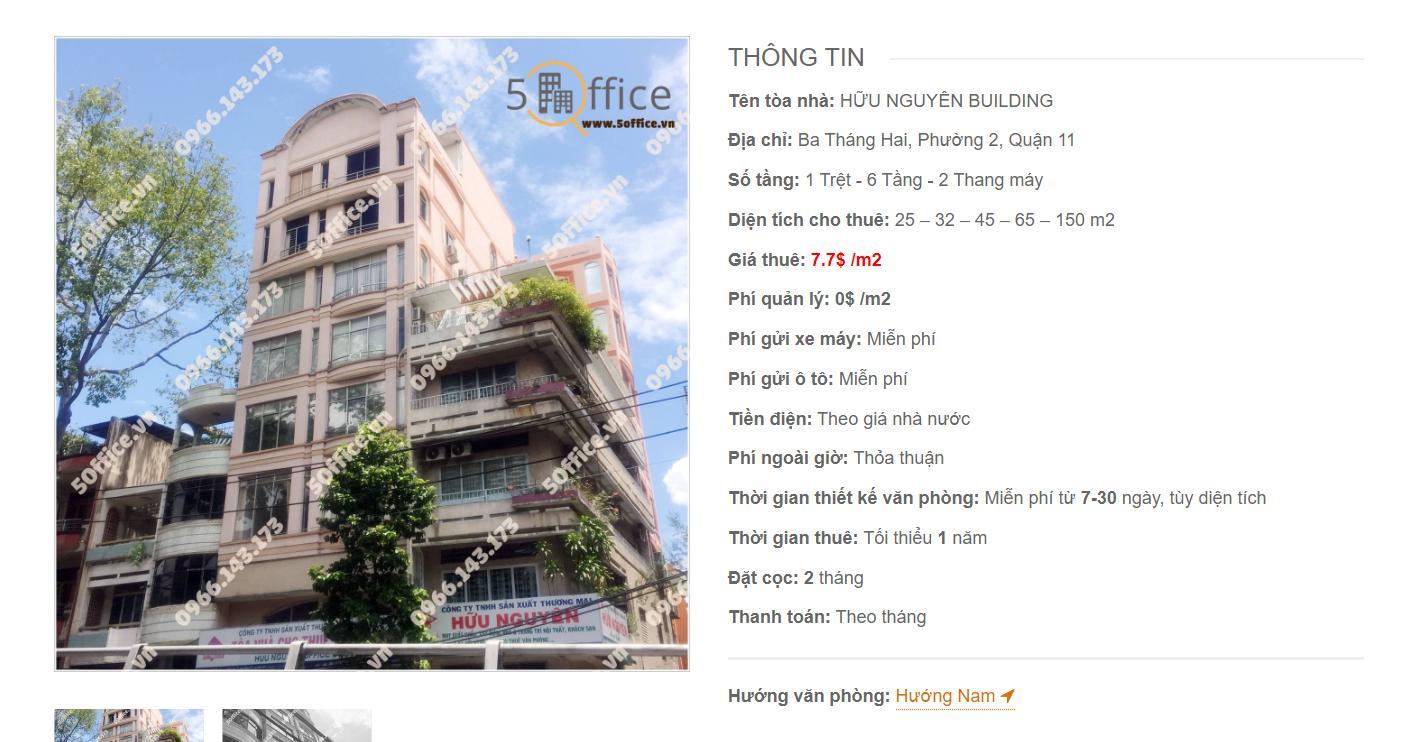 Danh sách công ty tại tòa nhà Hữu Nguyên Building, đường Ba Tháng Hai, Quận 11