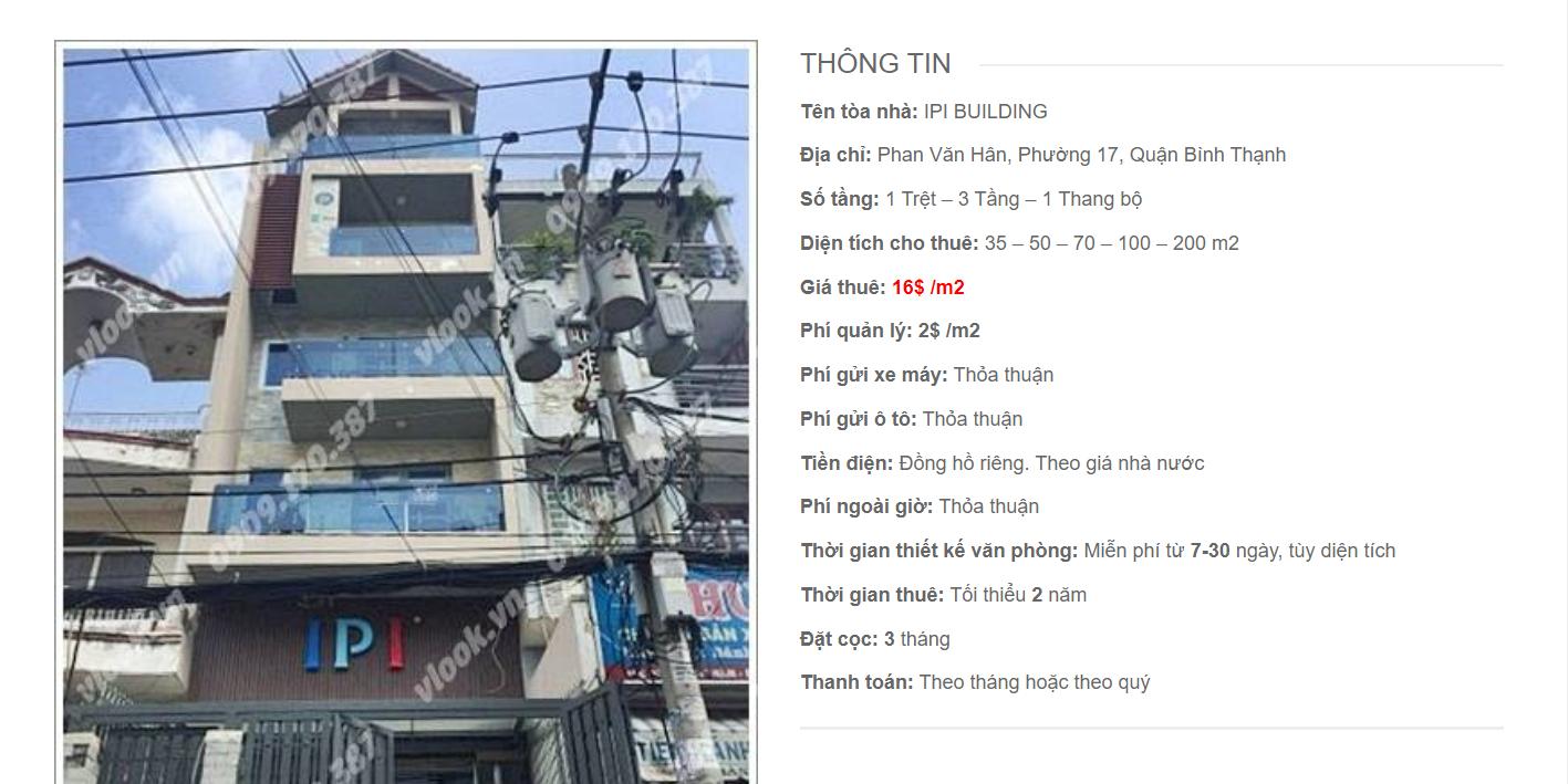 Danh sách công ty tại tòa nhà IPI Building, Phan Văn Hân, Quận Bình Thạnh