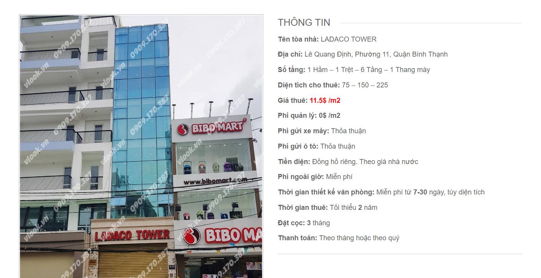 Danh sách công ty tại tòa nhà Ladaco Tower, Lê Quang Địn, Quận Bình Thạnh