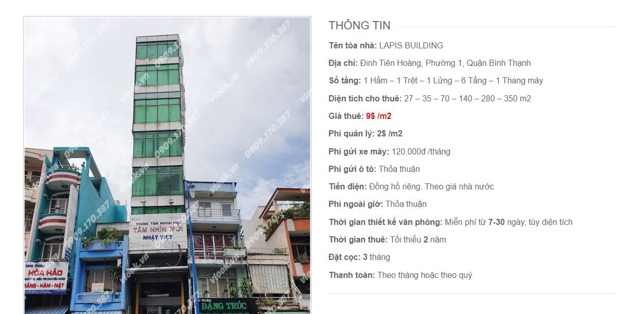 Danh sách công ty tại tòa nhà Lapis Building, Đinh Tiên Hoàng, Quận Bình Thạnh