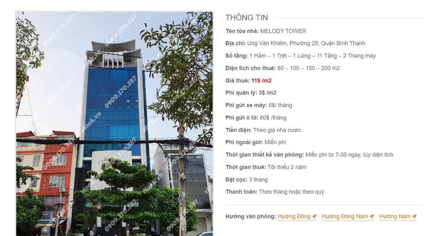 Danh sách công ty tại tòa nhà Melody Tower, Ung Văn Khiêm, Quận Bình Thạnh