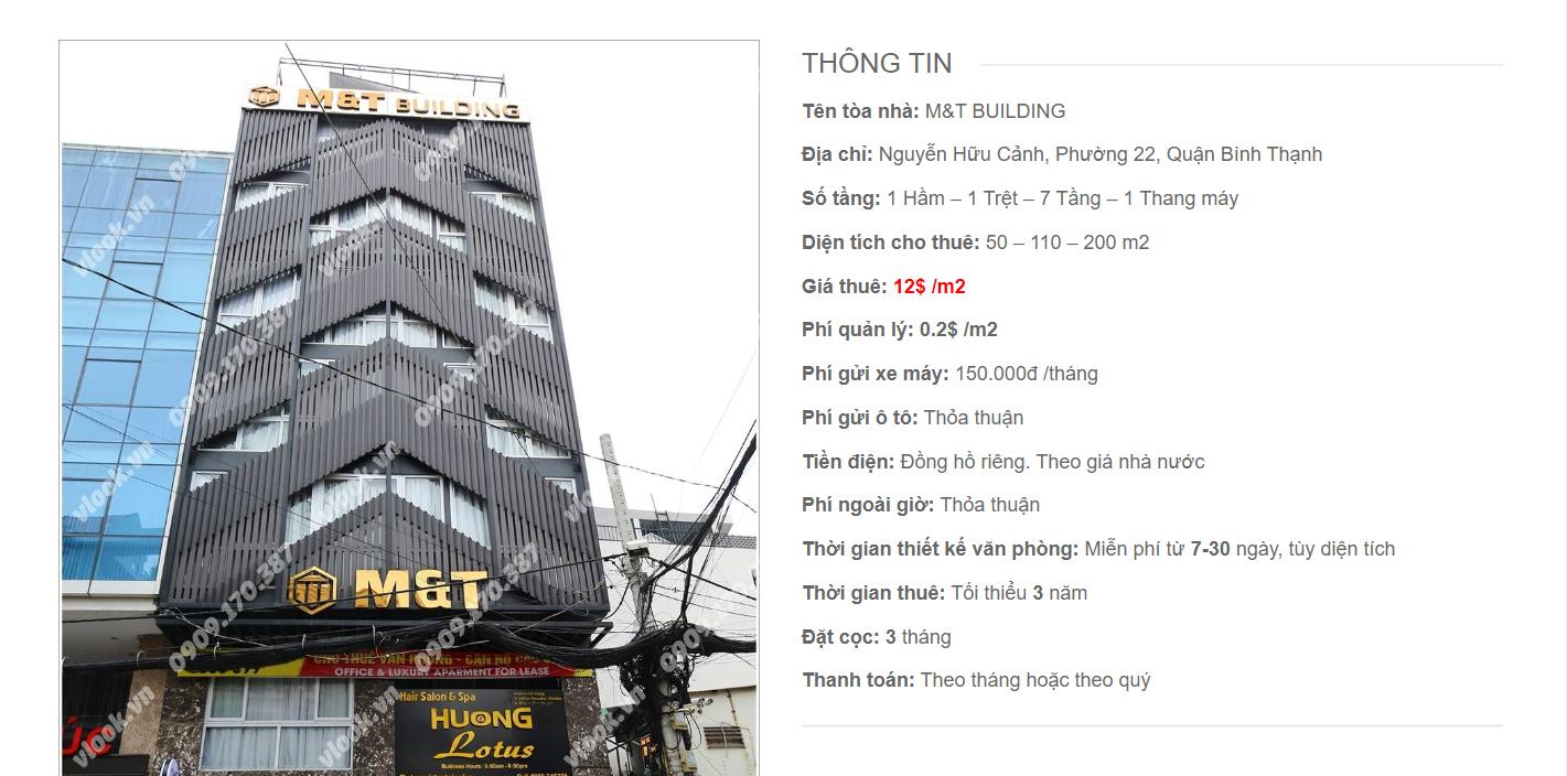 Danh sách công ty tại tòa nhà M&T Building, Nguyễn Hữu Cảnh, Quận Bình Thạnh