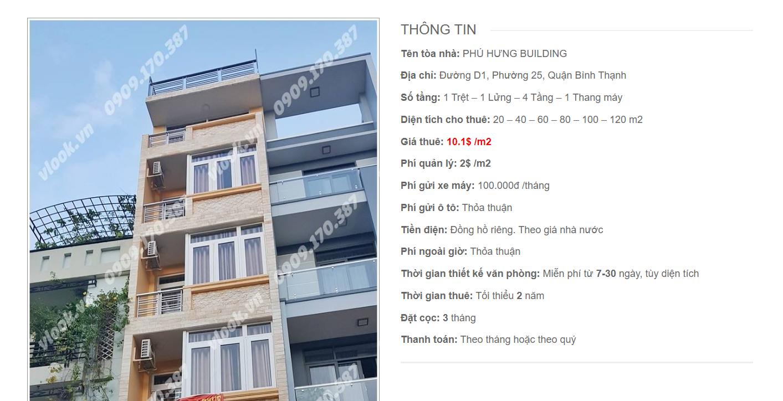 Danh sách công ty tại tòa nhà Phú Hưng Building, Đường D1, Quận Bình Thạnh