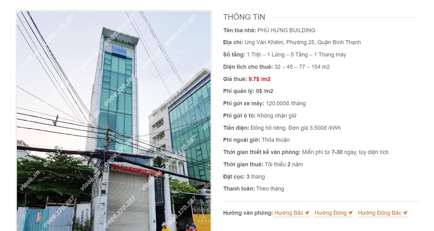 Danh sách công ty tại tòa nhà Phú Hưng Building, Ung Văn Khiêm, Quận Bình Thạnh