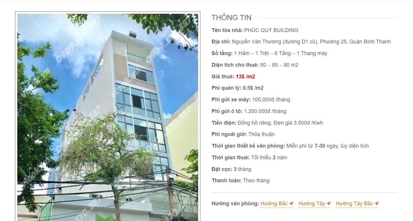 Danh sách công ty tại tòa nhà Phúc Quý Building, Nguyễn Văn Thương Quận Bình Thạnh