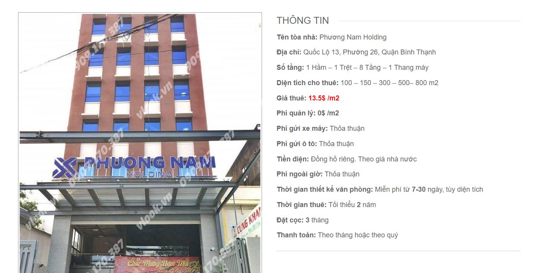 Danh sách công ty tại tòa nhà Phương Nam Holding, Quốc Lộ 13 Quận Bình Thạnh