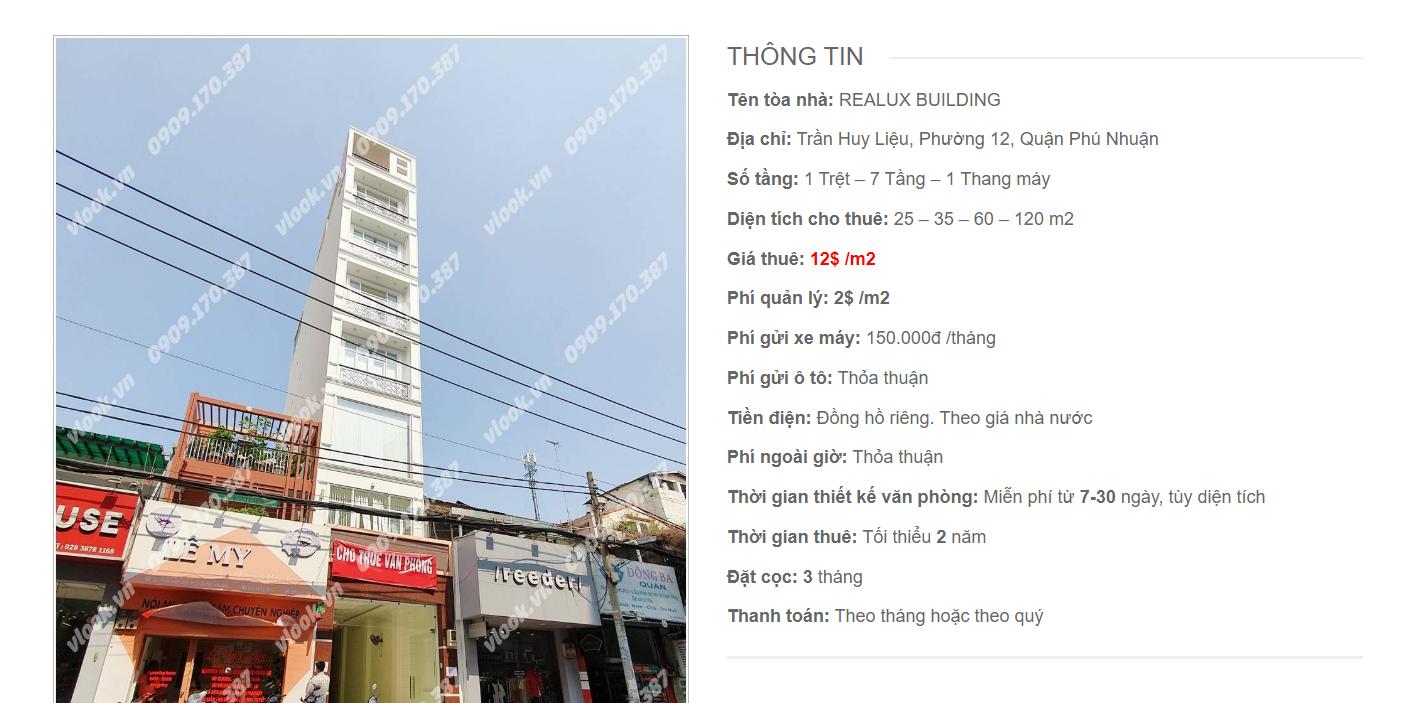 Danh sách công ty tại tòa nhà Realux Building, Trần Huy Liệu, Quận Phú Nhuận