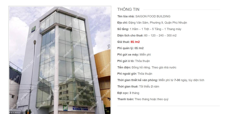 Danh sách công ty tại tòa nhà Saigon Food Building, Đặng Văn Sâm, Quận Phú Nhuận