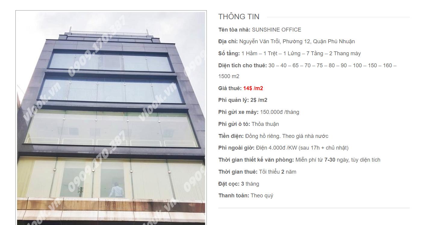 Danh sách công ty tại tòa nhà Sunshine Office, Nguyễn Văn Trỗi, Quận Phú Nhuận