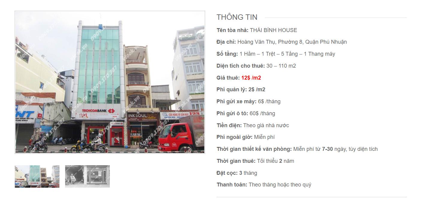 Danh sách công ty tại tòa nhà Thái Bình House, Hoàng Văn Thụ, Quận Phú Nhuận