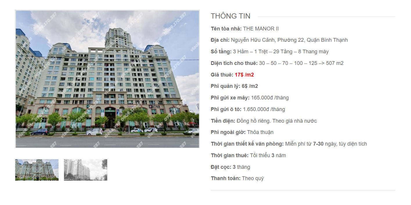 Danh sách công ty tại tòa nhà The Manor II, Nguyễn Hữu Cảnh, Quận Bình Thạnh