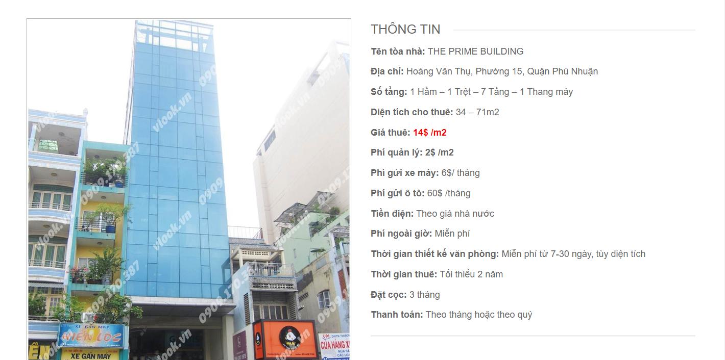 Danh sách công ty tại tòa nhà The Prime Building, Hoàng Văn Thụ, Quận Phú Nhuận