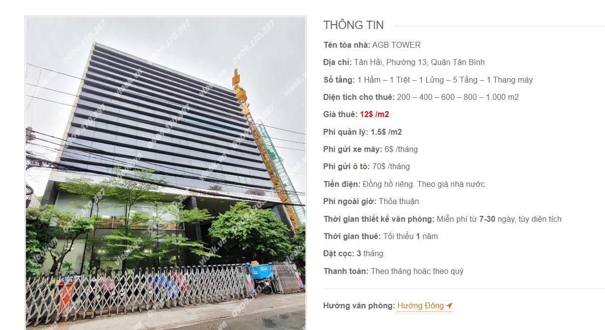 Danh sách công ty tại tòa nhà AGB Tower, Tân Hải, Quận Tân Bình