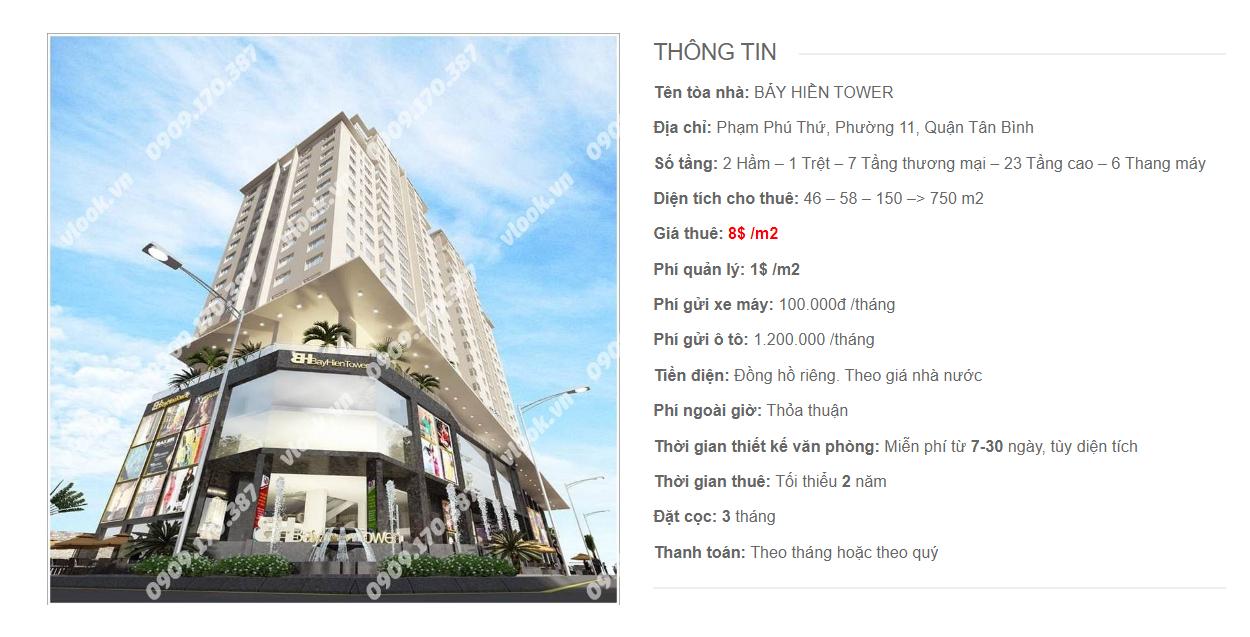 Danh sách công ty tại tòa nhà Bảy Hiền Tower, Phạm Phú Thứ, Quận Tân Bình