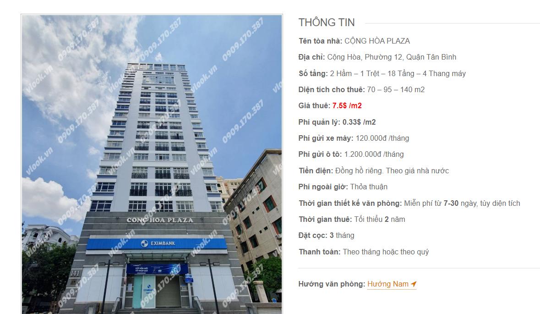 Danh sách công ty tại tòa nhà Cộng Hòa Plaza, Cộng Hòa, Quận Tân Bình