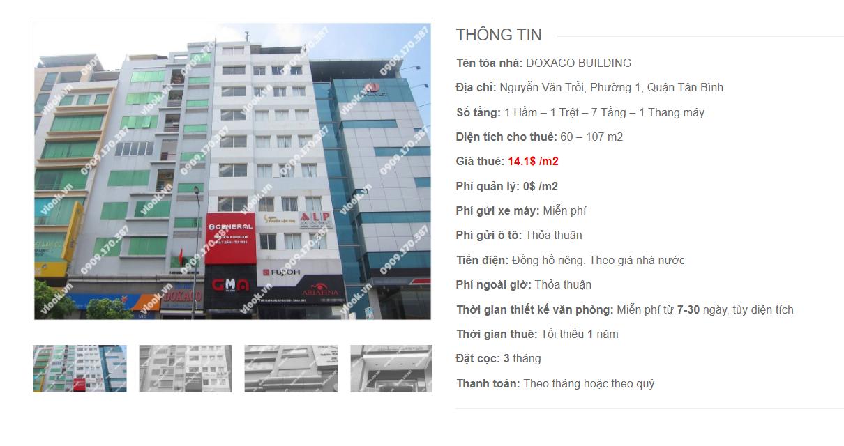 Danh sách công ty tại tòa nhà Doxaco Building, Nguyễn Văn Trỗi, Quận Tân Bình