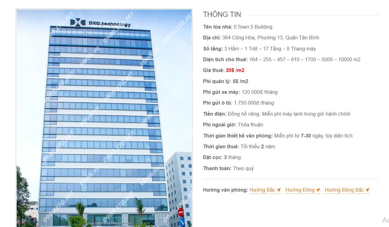 Danh sách công ty tại tòa nhà Etown 5 Building, Cộng Hòa, Quận Tân Bình