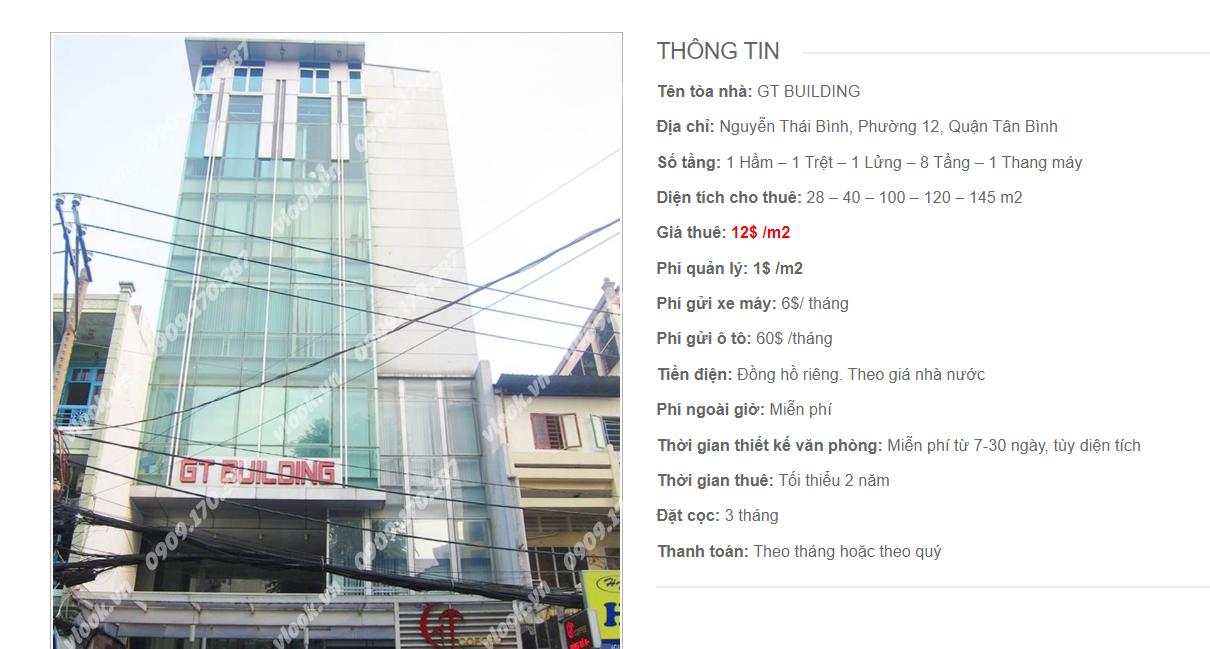 Danh sách công ty tại tòa nhà GT Building, Nguyễn Thái Bình, Quận Tân Bình