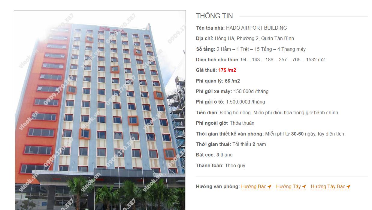 Danh sách công ty tại tòa nhà HaDo Airport Building, Hồng Hà, Quận Tân Bình