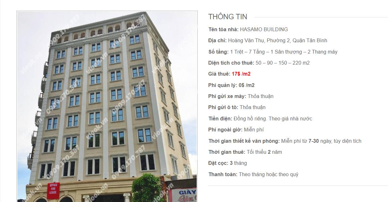Danh sách công ty tại tòa nhà Hasamo Building, Hoàng Văn Thụ, Quận Tân Bình
