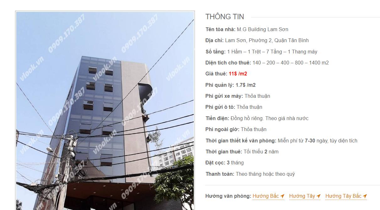 Danh sách công ty tại tòa nhà M.G Building Lam Sơn, Lam Sơn, Quận Tân Bình